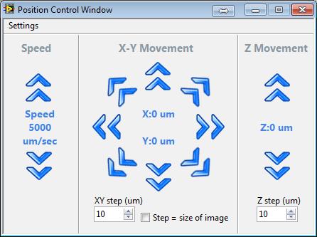 Microscope app pos control window